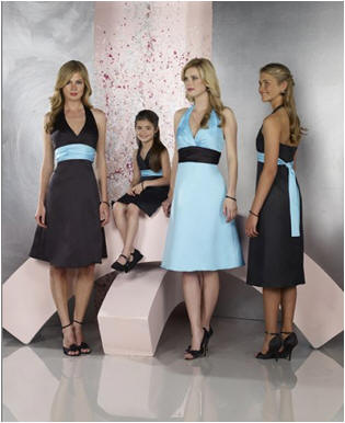turquoise and black bridesmaid dresses