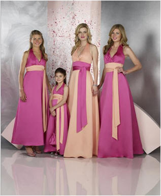 peach and pink wedding party dresses