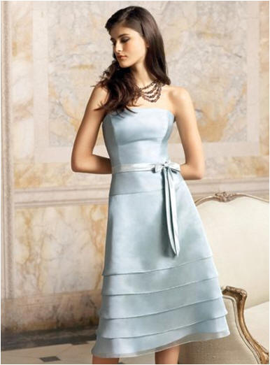 blue tiered bridesmaid dress