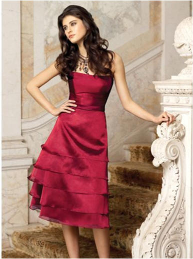 apple red tiered dress