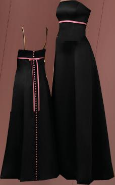 Black Bridesmaid Dress on Black Bridesmaid Dresses With Pink Covered Buttons Full Length Down
