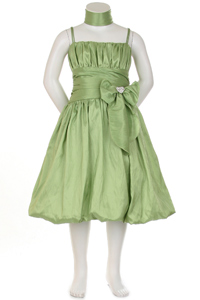 taffeta sage flower girl dress