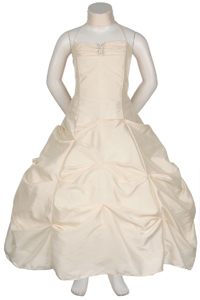 ivory ruched bodice pick up cheap kids dresses