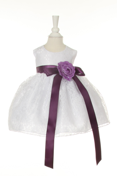 baby dress with purple sash
