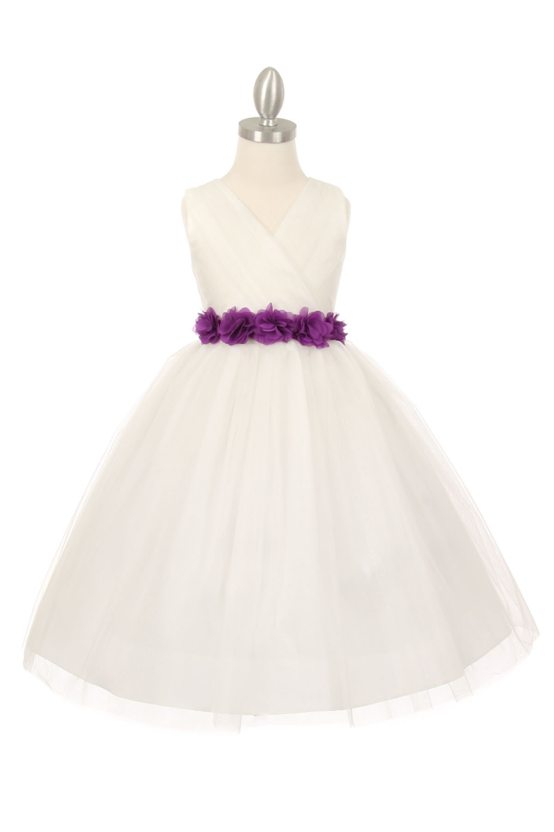 girls white dress with purple sash