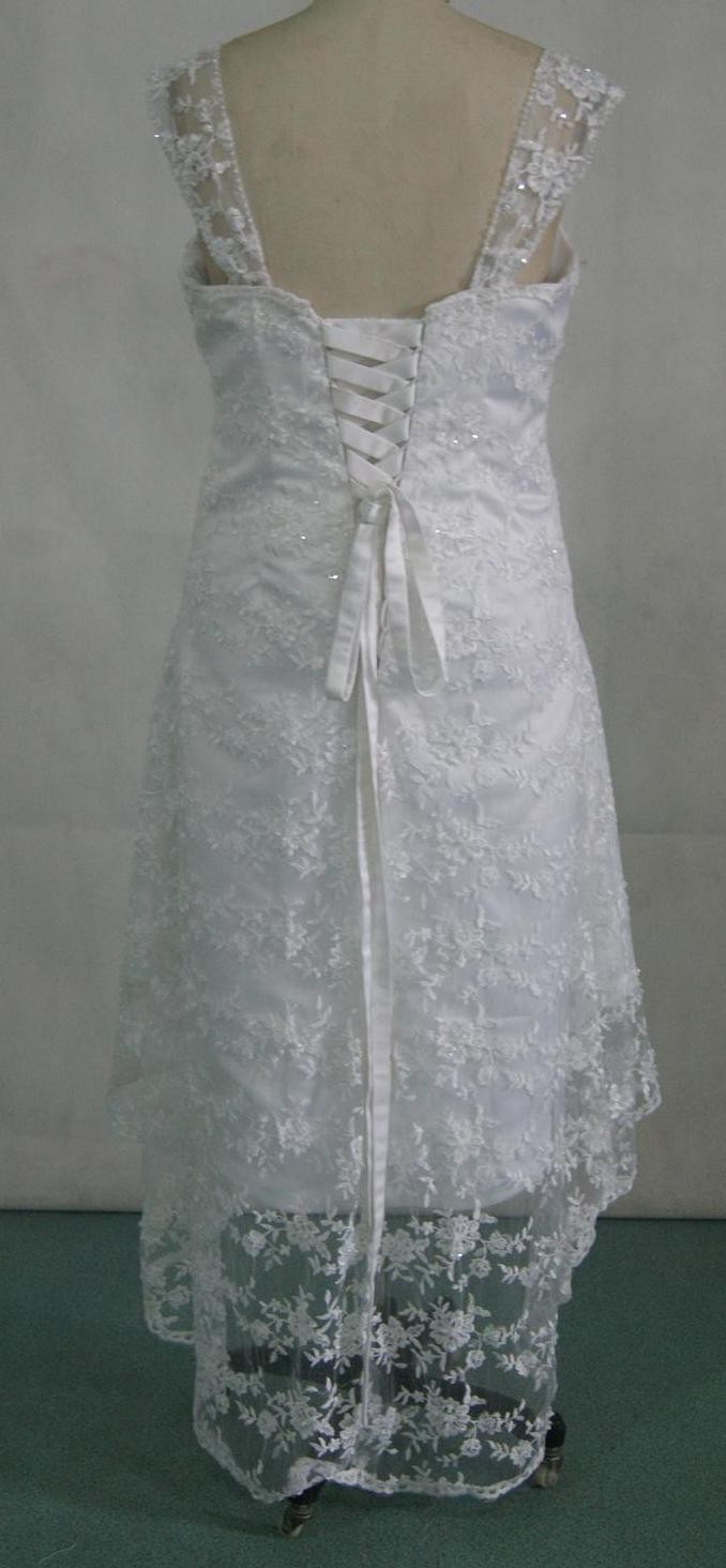 Customized sheer lace high low wedding gown
