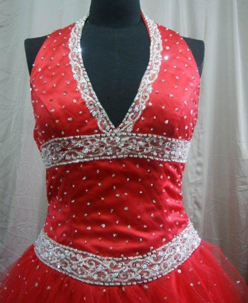 scarlet dress with silver beading