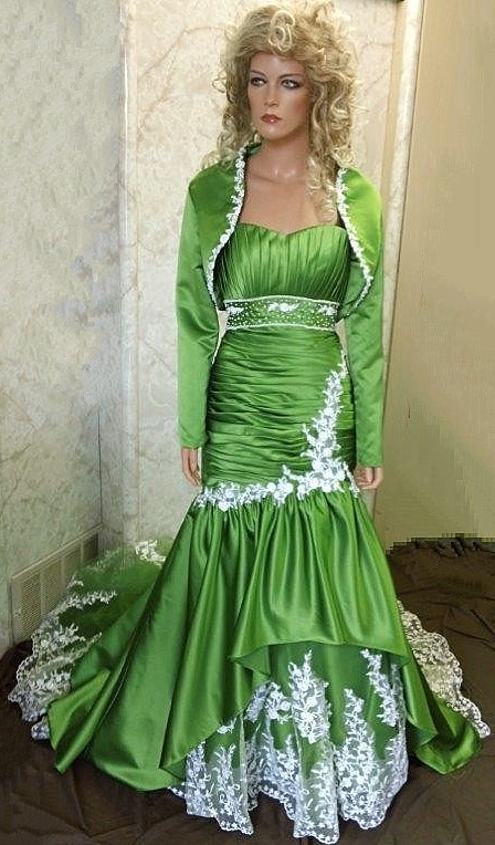 green wedding dress and jacket