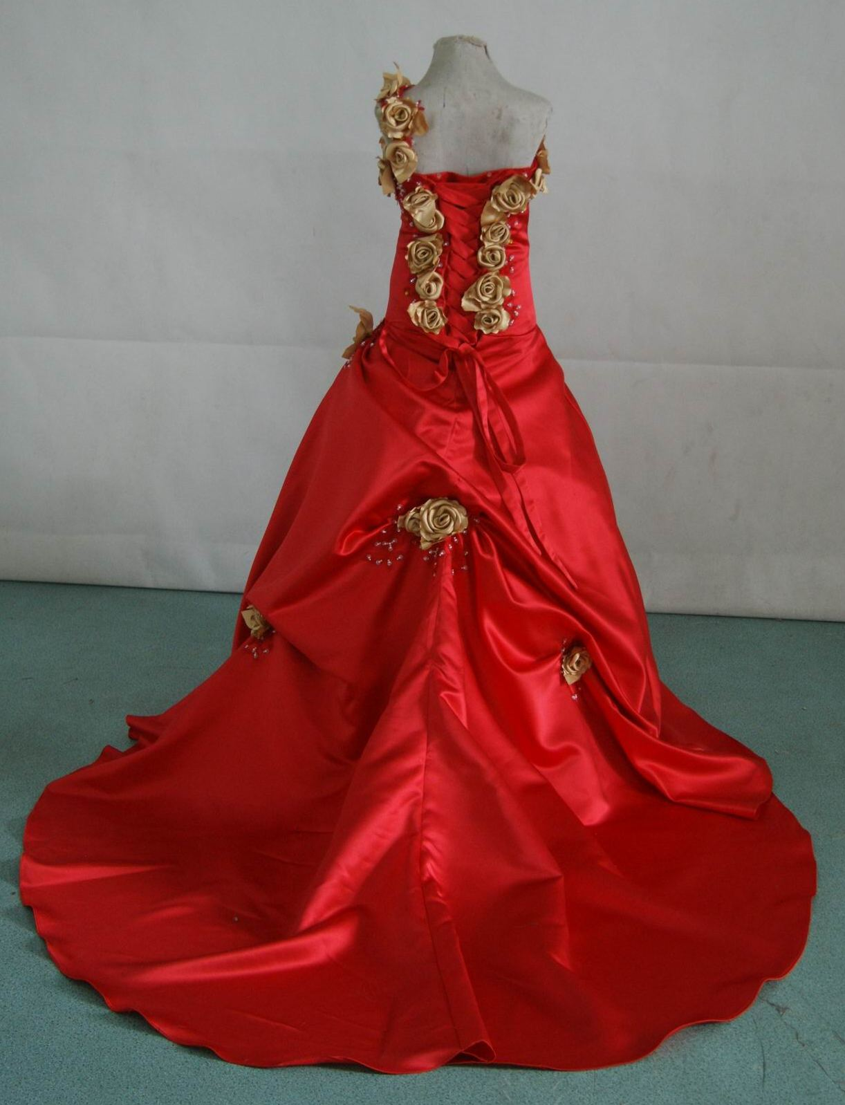 One shoulder wedding dress for Red and gold wedding dress