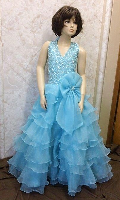 Ruffle layered Girls pageant dresses