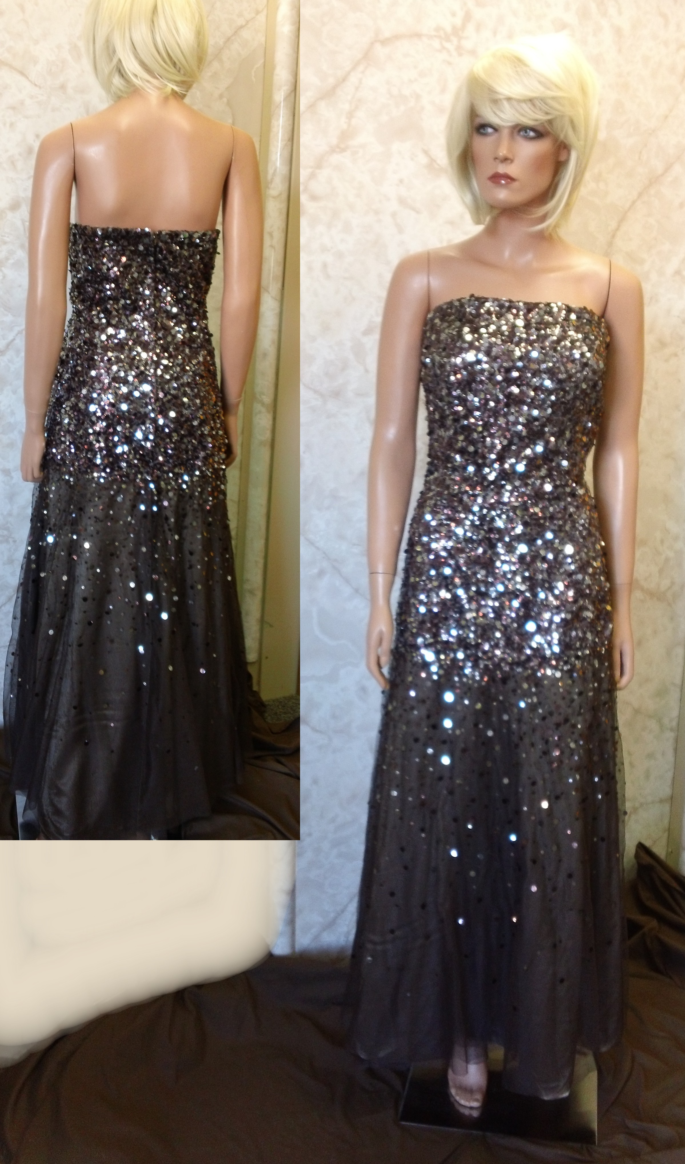 silver sparkling prom dress
