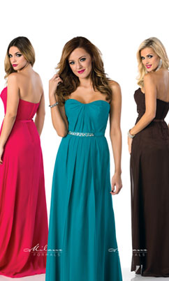 long strapless fuschia bridesmaid dress