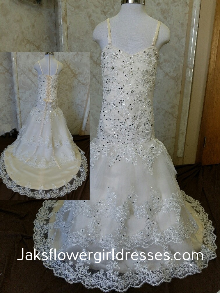 Lace tiered fit and flare flower girl dress
