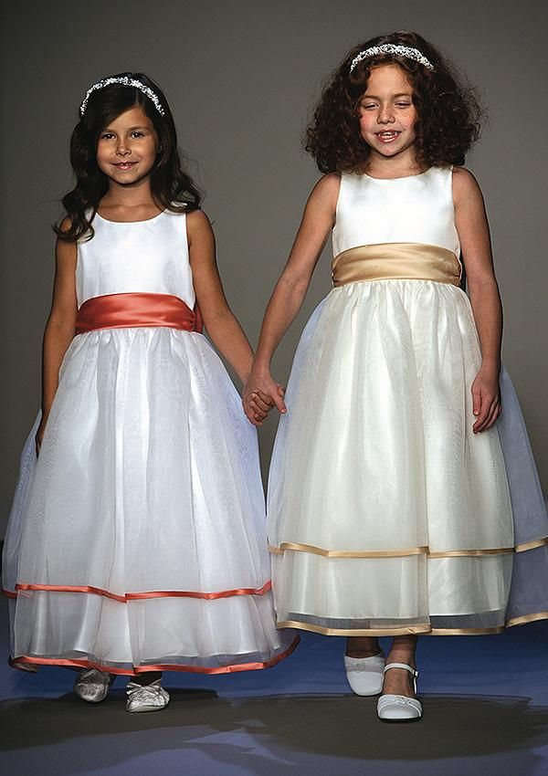Sleeveless tea length flower girl dresses