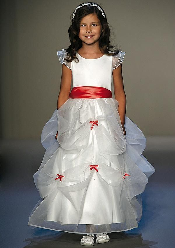 white size 6 long flower girl dress