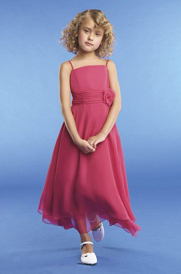 Pink chiffon flower girls dresses