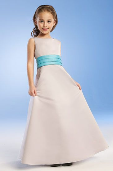 White with turquoise Junior bridesmaid dresses