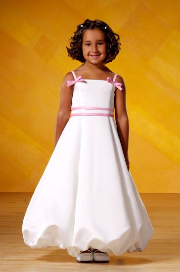 d5e0c2f6b00 Bubble Hem Flower Girl Dress with contrasting spaghetti straps