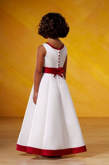 red and white junior bridesmaid dress