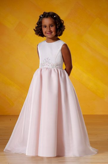 Long pink organza sleeveless flower girl dress