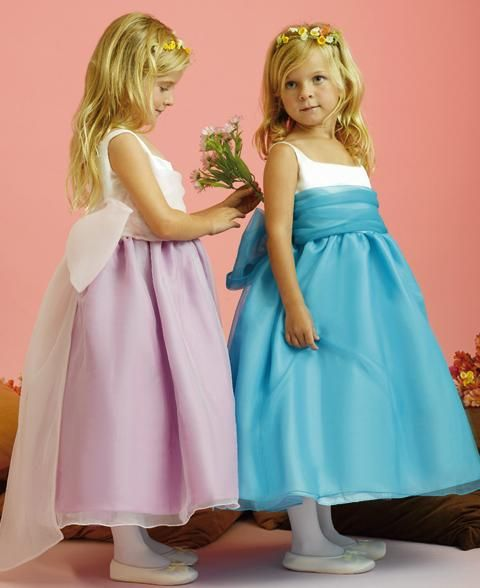 lilac and sky blue flower girl tea length dresses