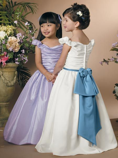 purple off shoulder flower girl dresses