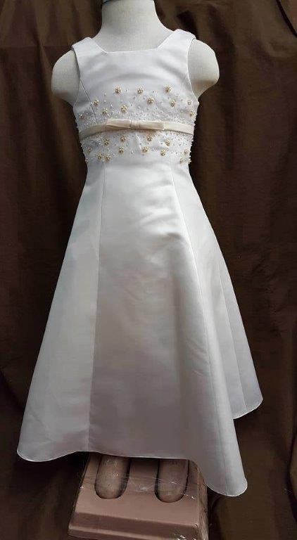 a7f67fc97f4 Ivory Flower girl dress with ivory beading. white with champagne sash