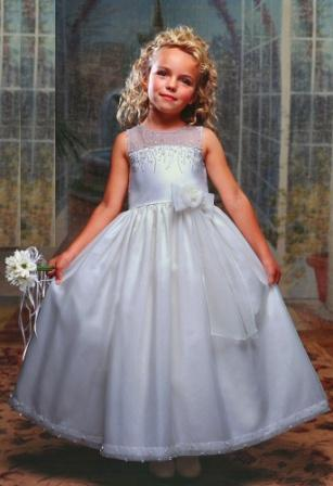 long white flower girl dress