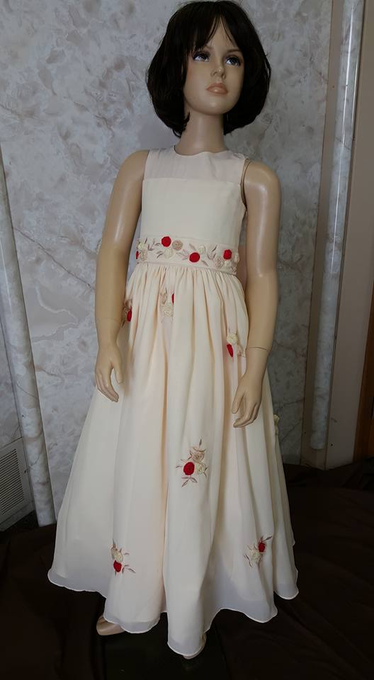 ivory dress with red flowers