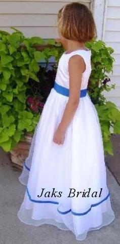 White organza flower girl dress, with royal blue trim