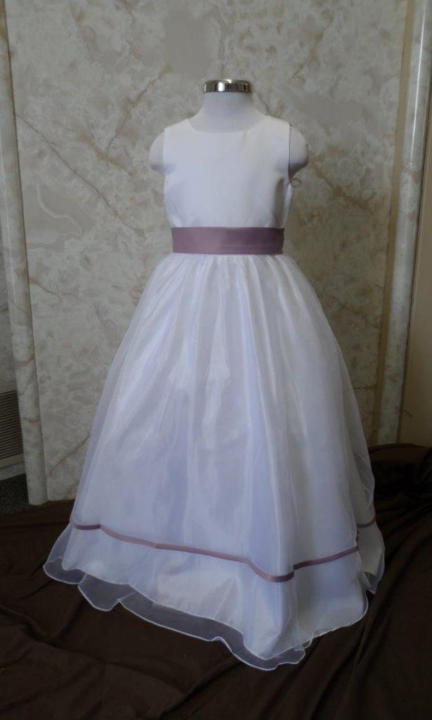 Long White organza flower girl dress with Victorian lilac trim.  Girls dresses in stock on sale for $40.00.