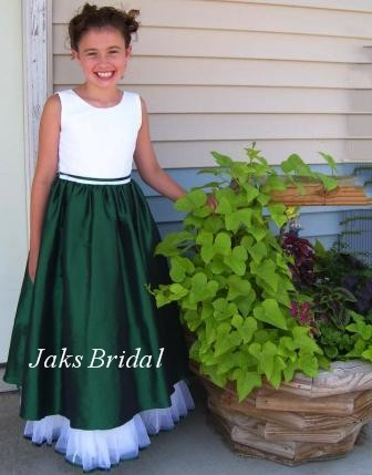 Sleeveless Green and Ivory Flower Girl Dress