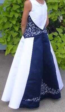 navy blue and white bridesmaid dress