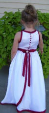 apple red halter dress with covered buttons on the back