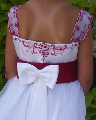 Apple Red and White bridal party gown