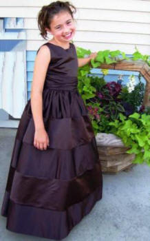 custom flower girl dress shown in chocolate brown
