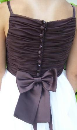 chocolate brown ruched flower girl dress