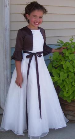 ivory flower girl dress with chocolate jacket
