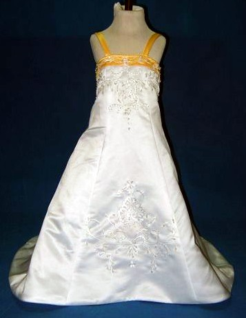 White and yellow wedding gown