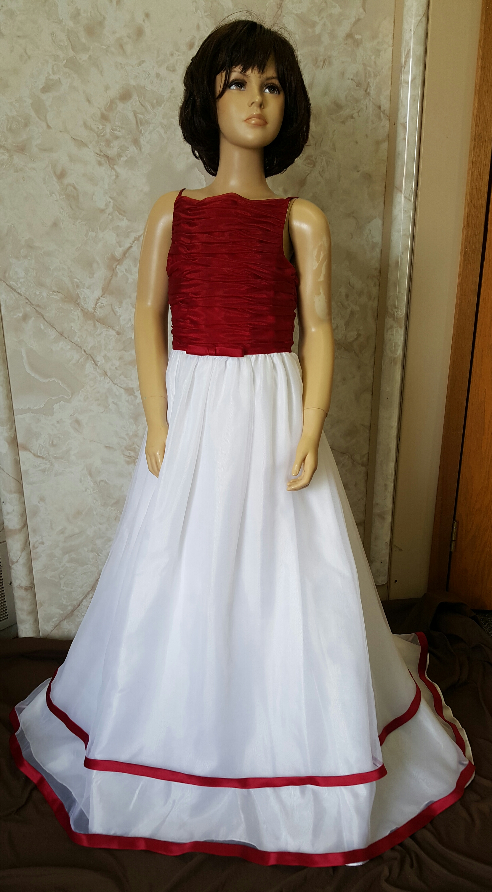 apple red and white junior bridesmaid dress