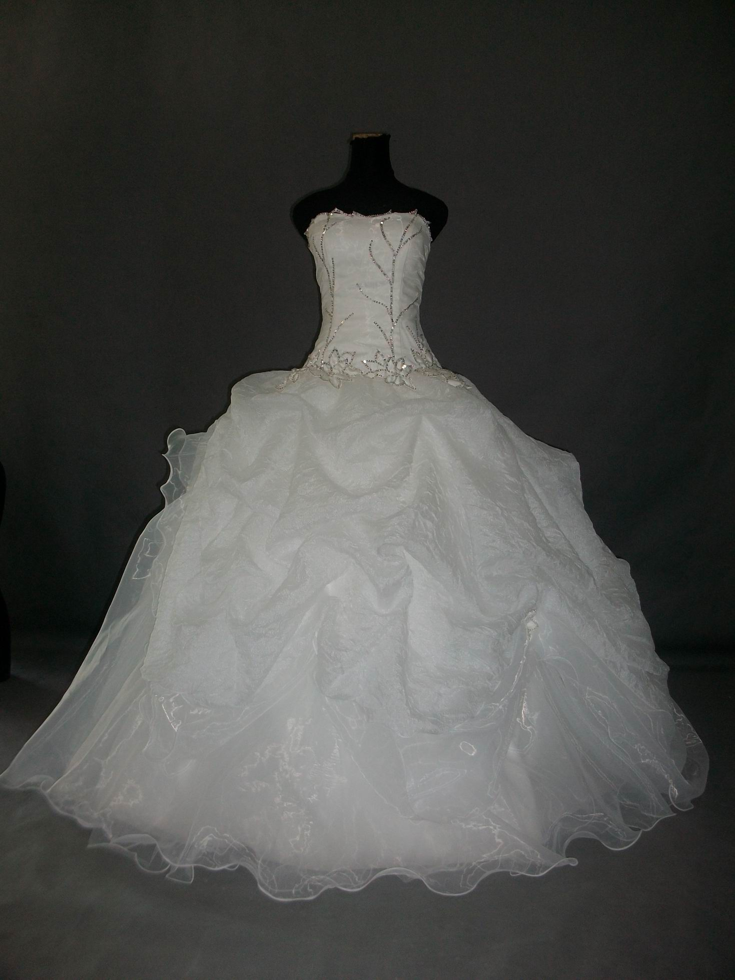 Ruched ballroom wedding gown.
