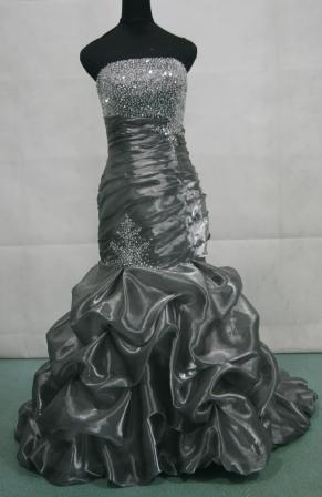 strapless pleated mermaid