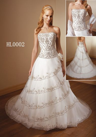 Strapless Heavy Embroidered wedding gown