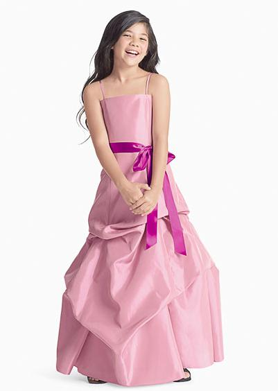 flower girls dress with pick up detail