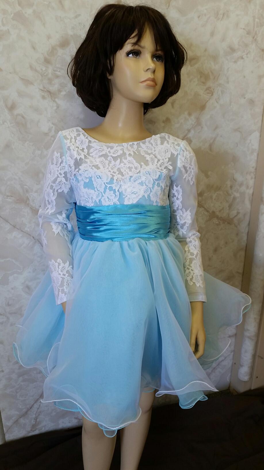 White Lace Long Sleeve Flower Girl Dress
