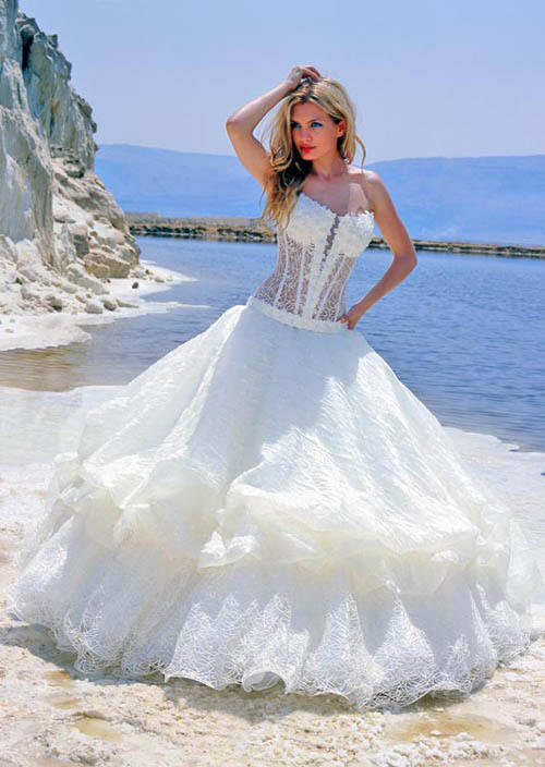 lace see thru wedding corset dress