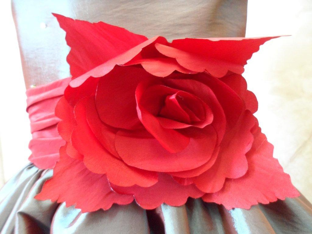 red ruffle flower waist