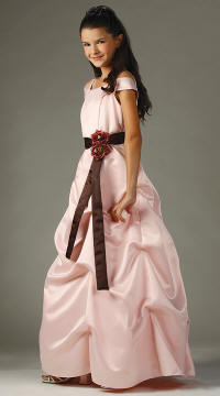 rose and brown long flower girl dress