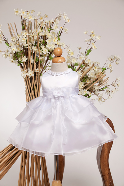 white Infant tiered pageant dress