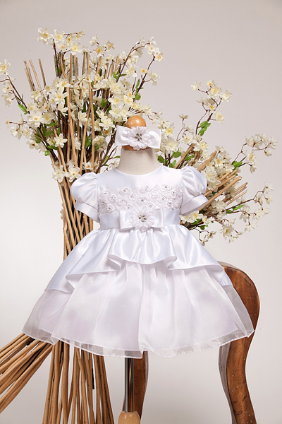 infant dress with high low style skirt